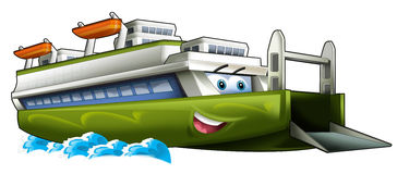 Cartoon ship - ferry caricature. Beautiful and colorful illustration for the children Royalty Free Stock Photography