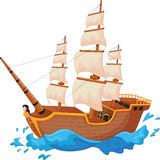 Cartoon ship isolated Royalty Free Stock Photo