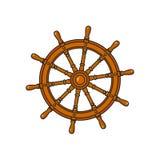 Cartoon ship, sailboat steering wheel. Ship, sailboat steering wheel, cartoon vector illustration isolated on white background. Cartoon vector illustration of Royalty Free Stock Photos
