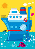 Cartoon ship at sea Royalty Free Stock Photo