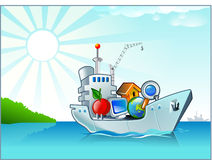 Cartoon ship with some icons. Cargo ship delivering some cartoon icons. It moving on the easy sea vector illustration