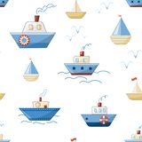 Cartoon ships, boats, steamers and yachts with waves and seagulls. Vector seamless pattern stock illustration