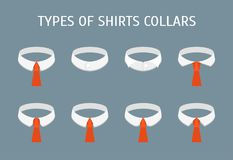 Cartoon Shirt Collars Different Types Icons Set. Vector stock illustration