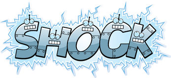Cartoon Shock Text. A cartoon illustration of the text Shock with a robot theme Stock Images