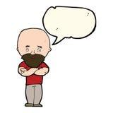 Cartoon shocked bald man with beard with speech bubble Stock Image