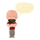 Cartoon shocked bald man with beard with speech bubble Royalty Free Stock Images