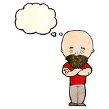 Cartoon shocked bald man with beard with thought bubble Stock Image