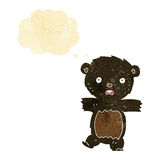 cartoon shocked black bear cub with speech bubble Stock Photography