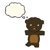 cartoon shocked black bear cub with speech bubble Stock Photo