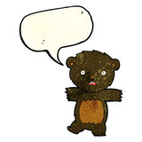 cartoon shocked black bear cub with thought bubble Stock Photos
