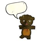 cartoon shocked black bear cub with thought bubble Stock Photos