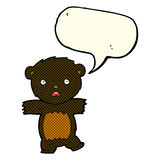 cartoon shocked black bear cub with thought bubble Royalty Free Stock Images