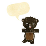 cartoon shocked black bear cub with thought bubble Royalty Free Stock Image