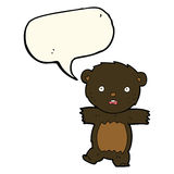 cartoon shocked black bear cub with thought bubble Stock Images