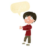 Cartoon shocked boy with speech bubble Stock Image