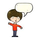 Cartoon shocked boy with speech bubble Stock Photos
