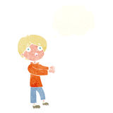 Cartoon shocked boy with thought bubble Stock Image