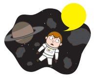 Cartoon Shocked Cosmonaut Stuck Between Asteroids Vector Illustration. Design Stock Image
