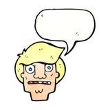 Cartoon shocked face with speech bubble Stock Photos