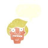 Cartoon shocked face with speech bubble Royalty Free Stock Photos