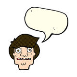 Cartoon shocked face with speech bubble Stock Images