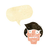 Cartoon shocked face with speech bubble Royalty Free Stock Image