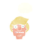 Cartoon shocked face with thought bubble Royalty Free Stock Photography