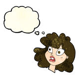 Cartoon shocked female face with thought bubble Stock Images