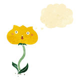 Cartoon shocked flower with thought bubble Royalty Free Stock Image