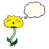 Cartoon shocked flower with thought bubble Royalty Free Stock Photography