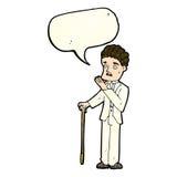 Cartoon shocked gentleman with speech bubble Stock Image