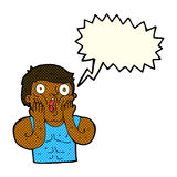 Cartoon shocked gym man with speech bubble Royalty Free Stock Images