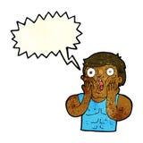 Cartoon shocked gym man with speech bubble Stock Photos