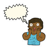 Cartoon shocked gym man with speech bubble Royalty Free Stock Photo