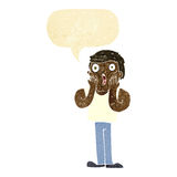 Cartoon shocked gym man with speech bubble Stock Photography