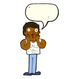Cartoon shocked gym man with speech bubble Royalty Free Stock Photography