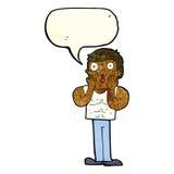 Cartoon shocked gym man with speech bubble Stock Photo