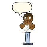 Cartoon shocked gym man with speech bubble Royalty Free Stock Photos