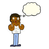 Cartoon shocked gym man with thought bubble Royalty Free Stock Images
