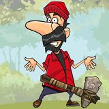Cartoon shocked lumberjack with a stone axe in the forest Stock Photo