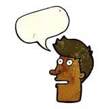 Cartoon shocked male face with speech bubble Stock Photos