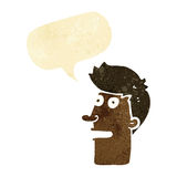 Cartoon shocked male face with speech bubble Royalty Free Stock Images