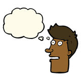 Cartoon shocked male face with thought bubble Stock Photography