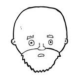 Cartoon shocked man with beard Stock Images