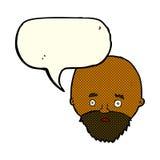 Cartoon shocked man with beard with speech bubble Stock Photo