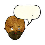 Cartoon shocked man with beard with speech bubble Stock Photography