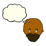 Cartoon shocked man with beard with thought bubble Royalty Free Stock Photography
