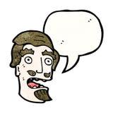Cartoon shocked man with goatee beard. Retro cartoon with texture. Isolated on White Royalty Free Stock Image