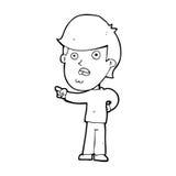 cartoon shocked man pointing Stock Photo