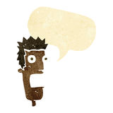 Cartoon shocked man's face with speech bubble Royalty Free Stock Images